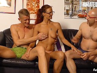 AMATEUR EURO - German Mediocre Housewife Jessy W. Takes Hard Cock Heavens Hot MMF Coition