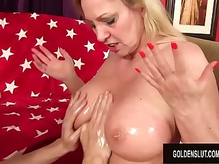 Busty Granny Cala Craves Gives an Oily Titjob with an increment of Gets Pummeled