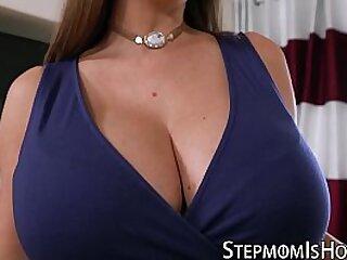 Curvy stepmom riding chubby dick with glee