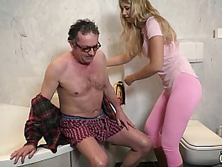 Superannuated man fucking y. in her stingy virgin pussy